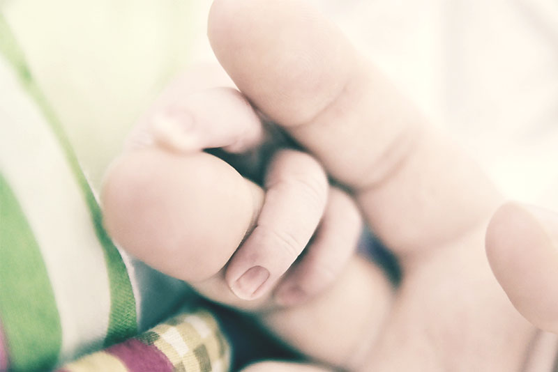 Baby fingers curled around mummy's finger