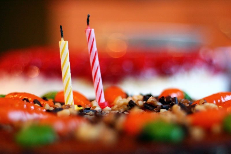 Two candles on a birthday cake